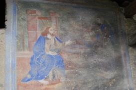 dettaglio: affresco dell'incontro tra cristo e la samaritana al pozzo